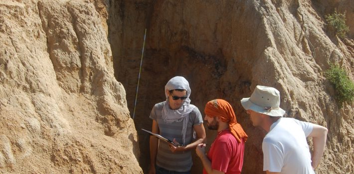 Sampling for palaeomagnetic dating at site TSR, Mygdonia basin